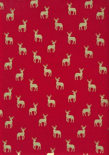John Louden Christmas Metallic Print - New Reindeer Red/ Gold JLX009RED