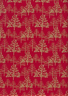 John Louden Christmas Metallic Print - Foil Tree Red/ Gold JLX0017RED