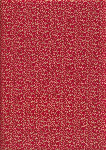 John Louden Christmas Metallic Print - New Scroll Red/ Gold JLX0010RED