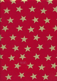 John Louden Christmas Metallic Print - Large Star Red/ Gold JLX0015RED