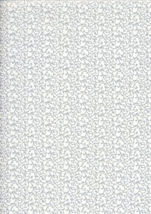 John Louden Christmas Metallic Print - New Scroll White/ Silver JLX0010