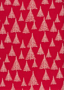 John Louden Scandi Christmas - Nordic Trees Red/Nat JLX0023RNAT