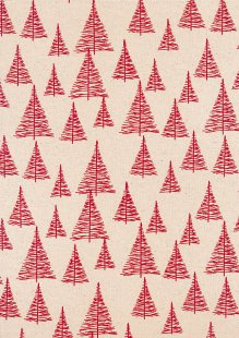 John Louden Scandi Christmas - Nordic Trees Nat/Red JLX0023NRED
