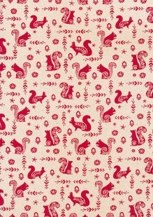 John Louden Scandi Christmas - Squirrel Nat/Red JLX0027RED