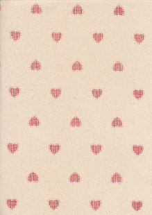 John Louden Scandi Christmas - Hand Stitched Heart Nat/Red JLX0021NRED