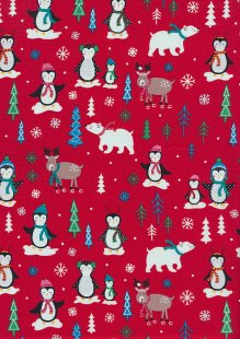 Craft Cotton Co Christmas - Penguins, Polar Bears & Reindeer Red CHR1