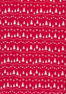 Craft Cotton Co Christmas - Scandi Trees Red CHR5