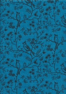 Makower Botanica - 1865/B Birds on Vine Pearl Blue