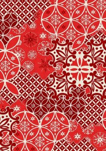 Makower Scandi Christmas - 1781/R Montage Red