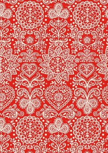 Makower Scandi Christmas - 1784/R Lace Red