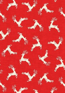 Makower Scandi Christmas - 1785/R Deer Scatter Red