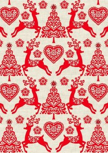 Makower Scandi Christmas - 1782/R Set Reindeer Red