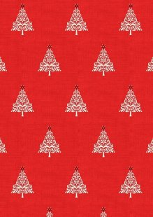 Makower Scandi Christmas - 1783/R Trees Red