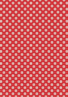 Makower Scandi Christmas - 1789/R6 Nordic Snowflake Cream on Red