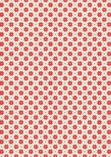 Makower Scandi Christmas - 1789/R2 Nordic Snowflake Red on Cream