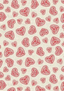 Makower Scandi Christmas - 1786/R Hearts Red