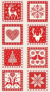 Makower Scandi Christmas - 1815/R Squares Panel Red
