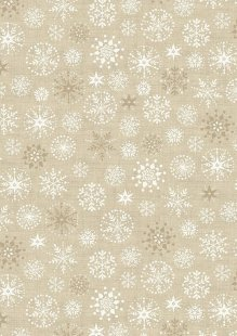 Makower Scandi Christmas - 1787/Q Snowflakes Cream