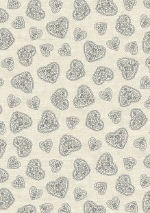 Makower Scandi Christmas - 1786/S Hearts Grey
