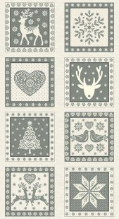 Makower Scandi Christmas - 1815/S 10? Squares Panel Grey