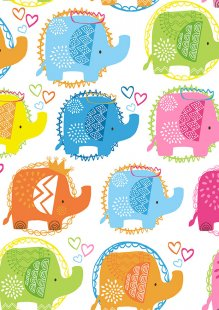 Makower - Ellie 2066/P Ellie Elephants Pink