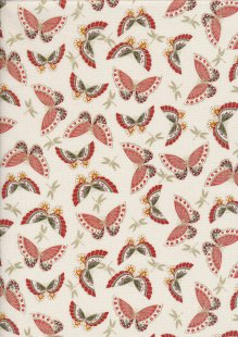 Makower Japanese Garden - 1858/P Butterflies Red