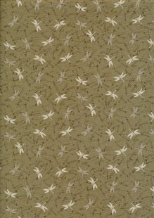 Makower Japanese Garden - 1860/G Dragonfly Dark Taupe