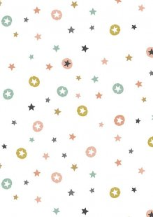 Makower Modern Metallic Christmas - 1802/W Stars White