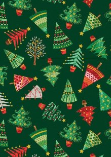 Makower Traditional Christmas - 1793/G Trees Green