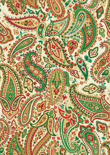 Makower Traditional Christmas - 1795/Q Paisley Cream