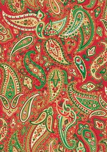 Makower Traditional Christmas - 1795/R Paisley Red