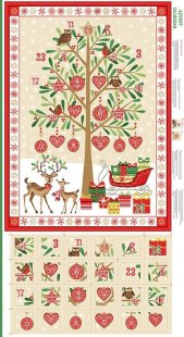 Makower Traditional Christmas - 1797/1 Tree Advent Panel