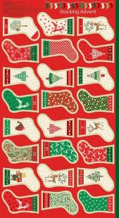Makower Traditional Christmas - 1798/1 Mini Stocking Advent Panel
