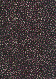 Cotton Needlecord - Floral on Black