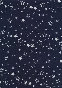 Cotton Needlecord - Stars on Navy
