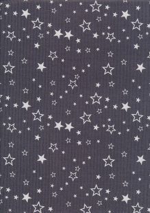 Cotton Needlecord - Stars on Grey