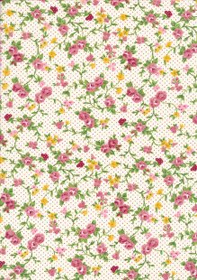 Fabric Freedom - Roses On White FFQS028-1