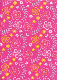 Craft Cotton Co - Cat On Mat Flowers on Pink 2525-04