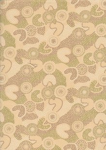 Novelty Fabric - Australasian Green & Purple Abstract Swirls On Cream