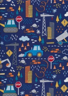 Novelty Fabric - Kids Construction Vehicles On Blue