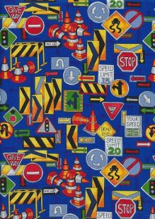 Novelty Fabric - Roadwork Signs & Cones On Blue
