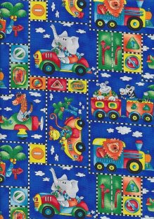 Novelty Fabric - Elephants, Giraffes, Monkeys & Lions Driving On Blue