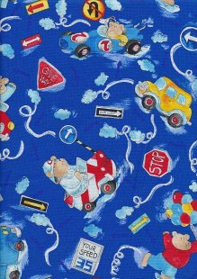 Novelty Fabric - Teddy Bears In Motor Cars On Blue