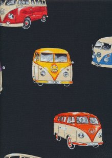 Novelty Fabric - Large VW Campers On Black