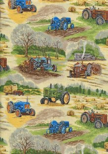 Novelty Fabric - Green & Blue Tractors In a Field