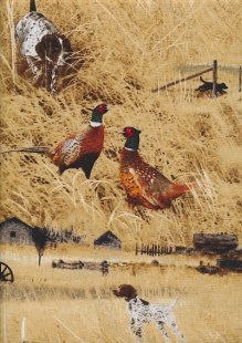 Novelty Fabric - Hunting Dogs & Pheasants In Reeds
