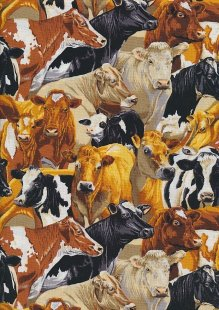 Novelty Fabric - Tight Packed Herd Of Cows