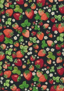 Novelty Fabric - Strawberries On Black