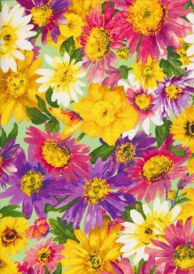 Novelty Fabric - Multi Coloured Flowers On Mint