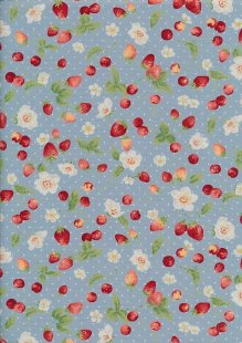 Sevenberry Novelty Fabric - Strawberries, Apples & Spots On Blue